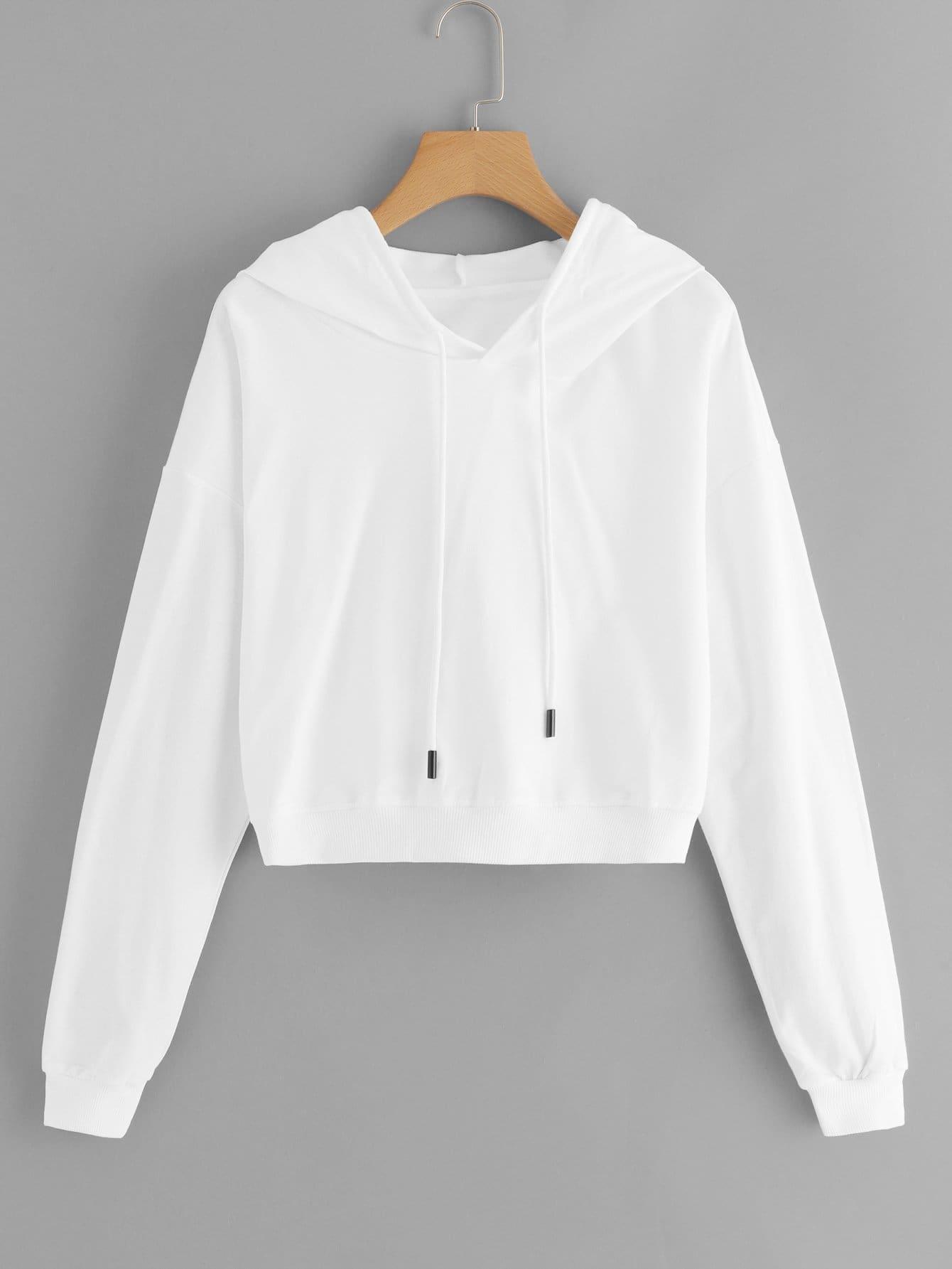 Drawstring Hoodie Solid Sweatshirt