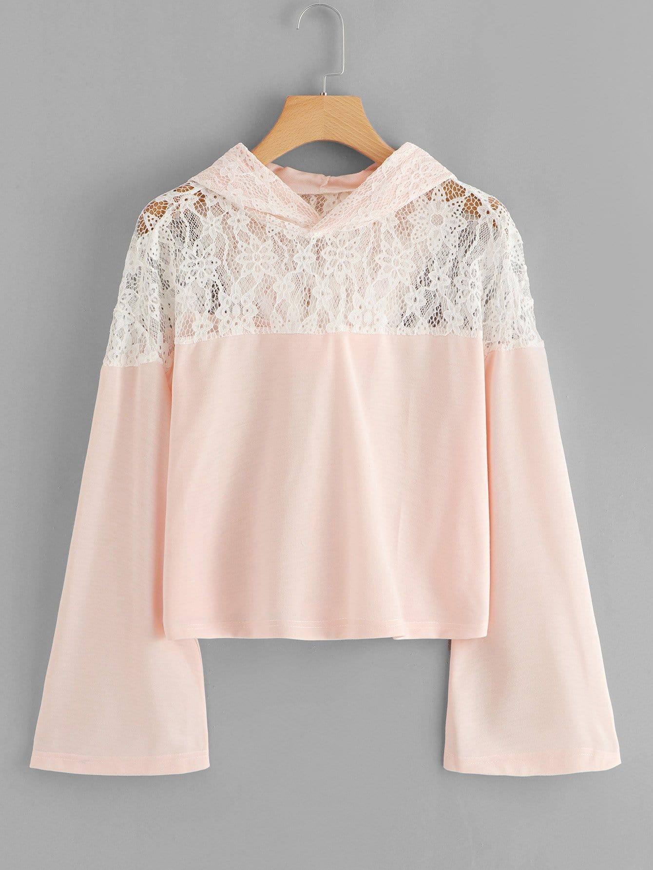 Lace Panel Hoodie Sweatshirt