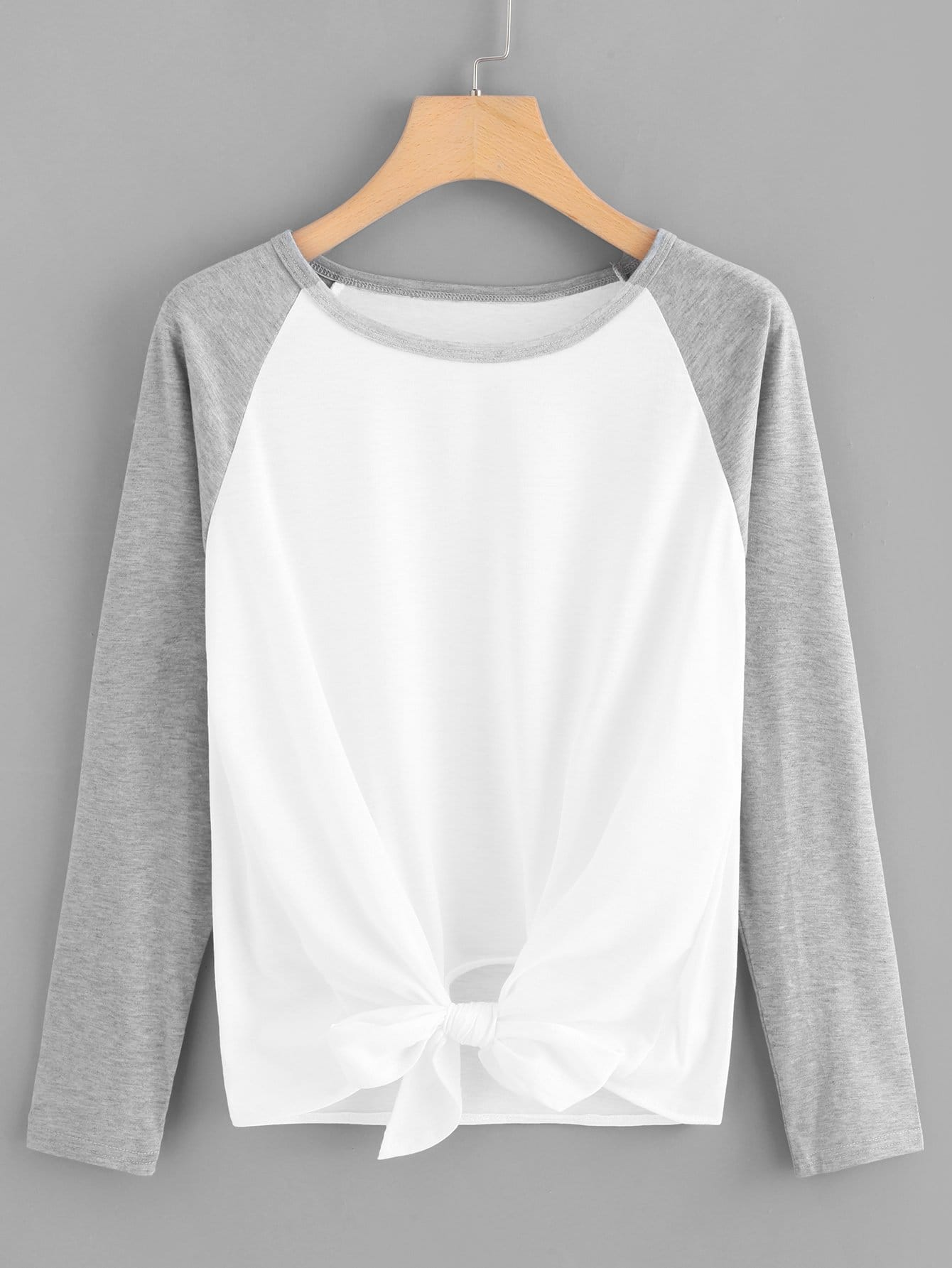 Noeud Ourlet Colorblock Manches Raglan Tee