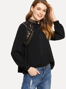 Guipure Lace Panel Mock Neck Top
