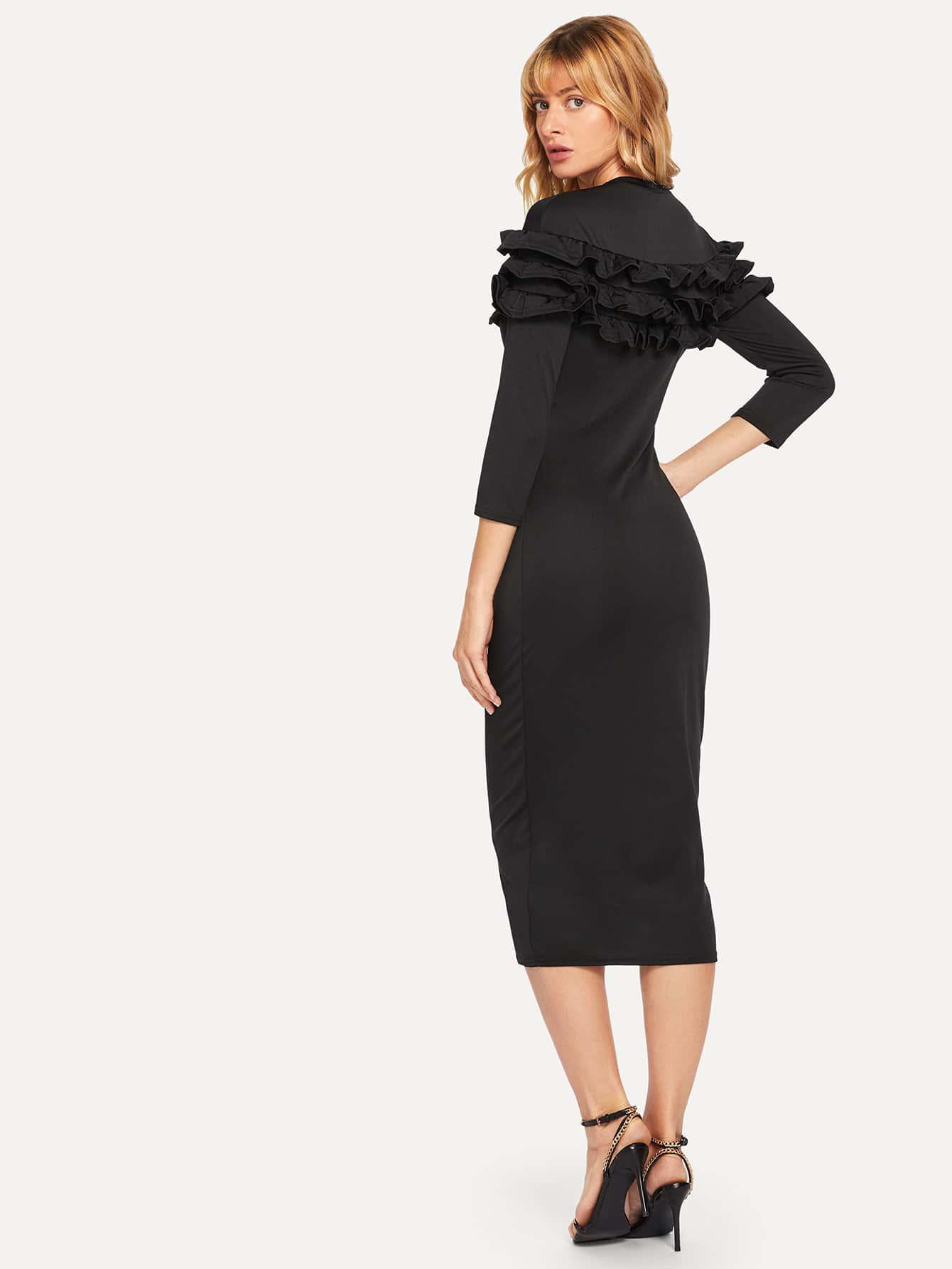 Купить Простое платье с кружевными оборками, Masha, SheIn