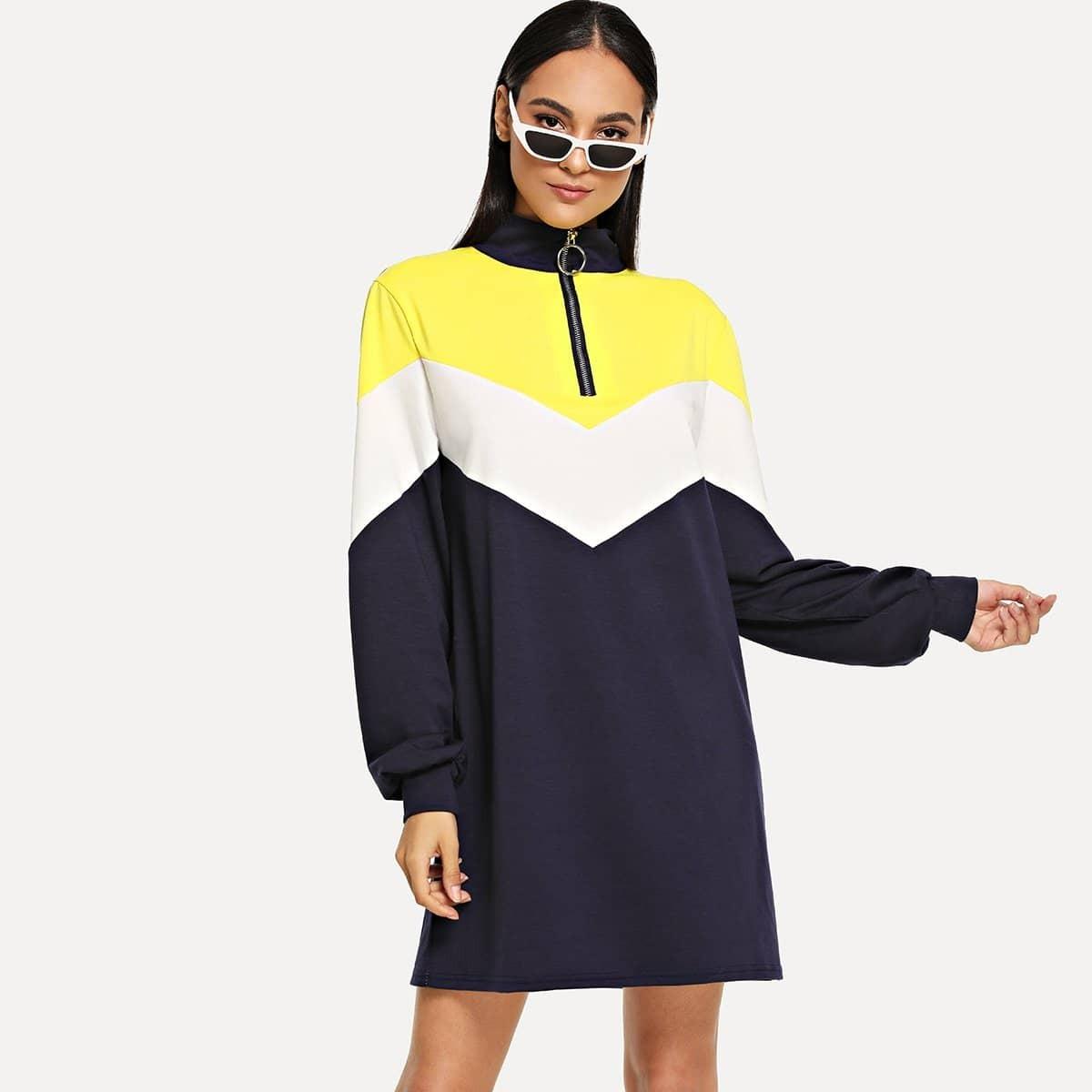 Kleurblok jurk mer O-ring ritssluiting