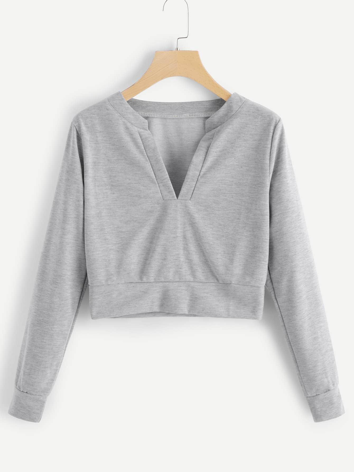 Купить Модный свитшот с V-образным вырезом, null, SheIn