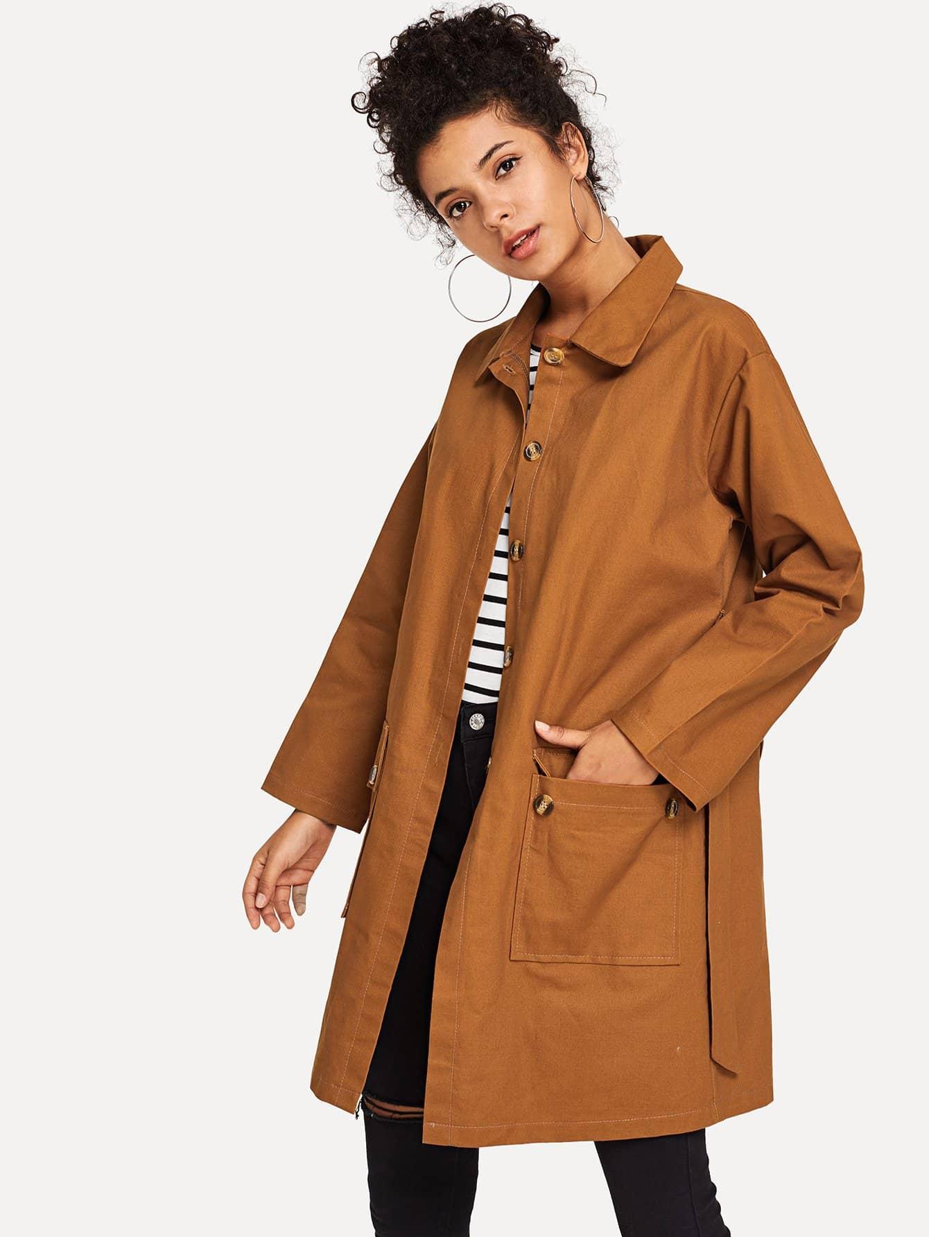 Простое пальто с поясом SheIn