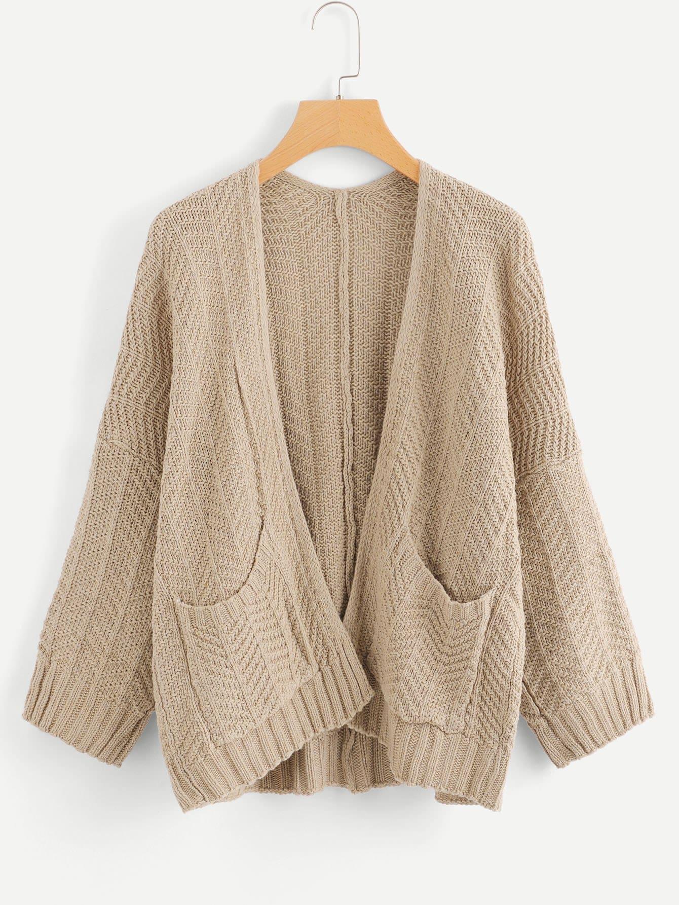 Купить Большое простое вязаное пальто с застёжкой молния, null, SheIn