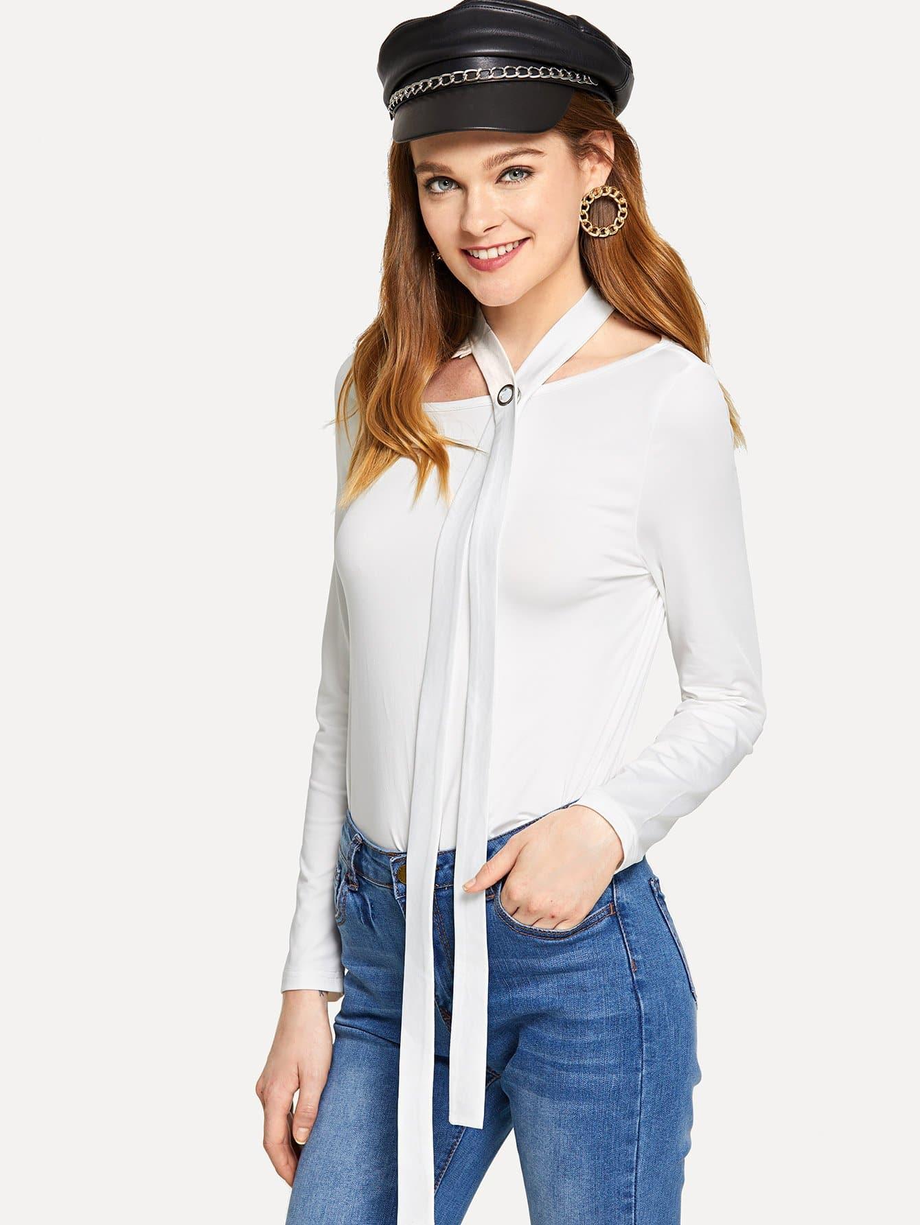 Простая футболка с рельефными узорами, Lauren, SheIn  - купить со скидкой