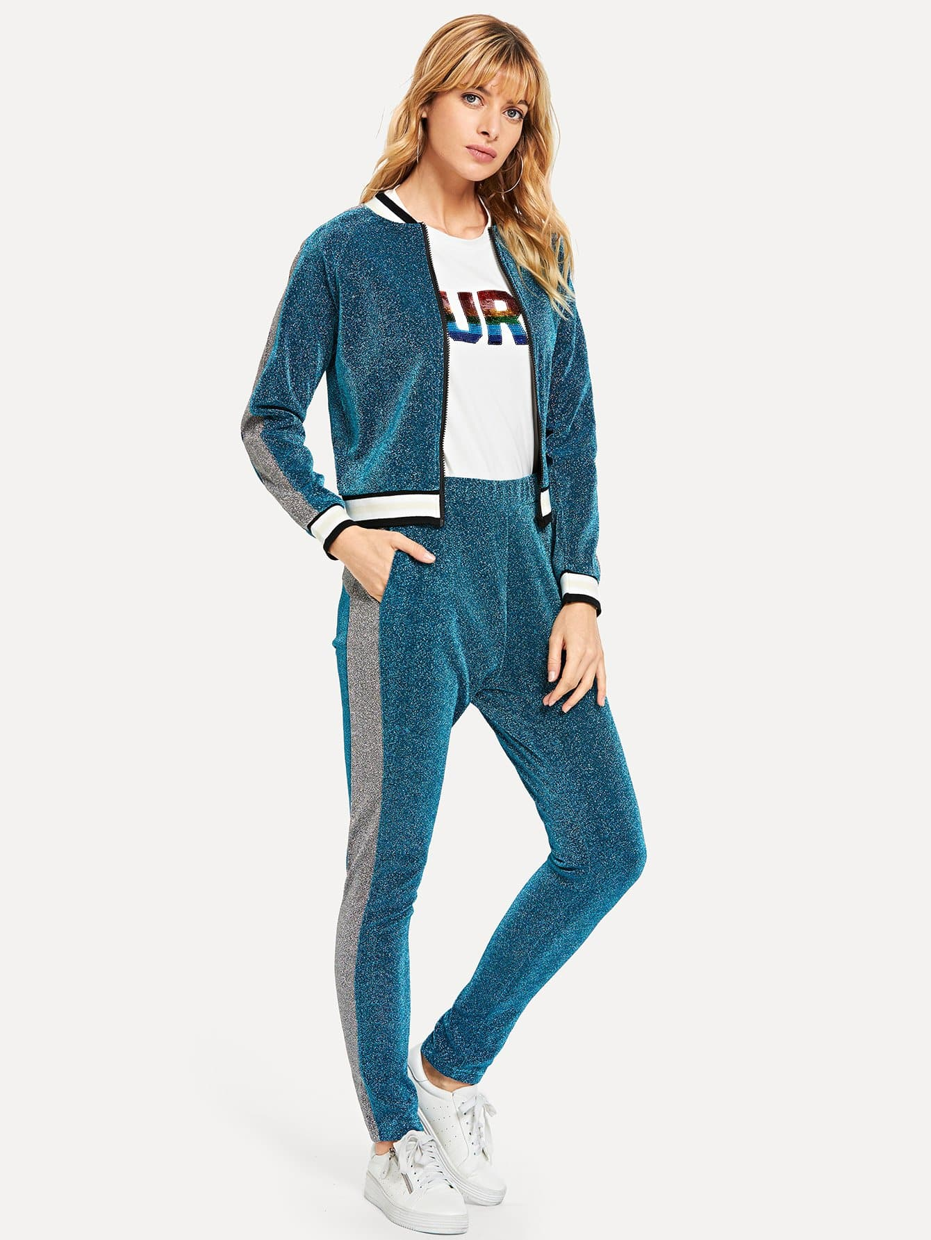 Купить Блестящая ветровка со симметрическими оторочками и брюки, Masha, SheIn