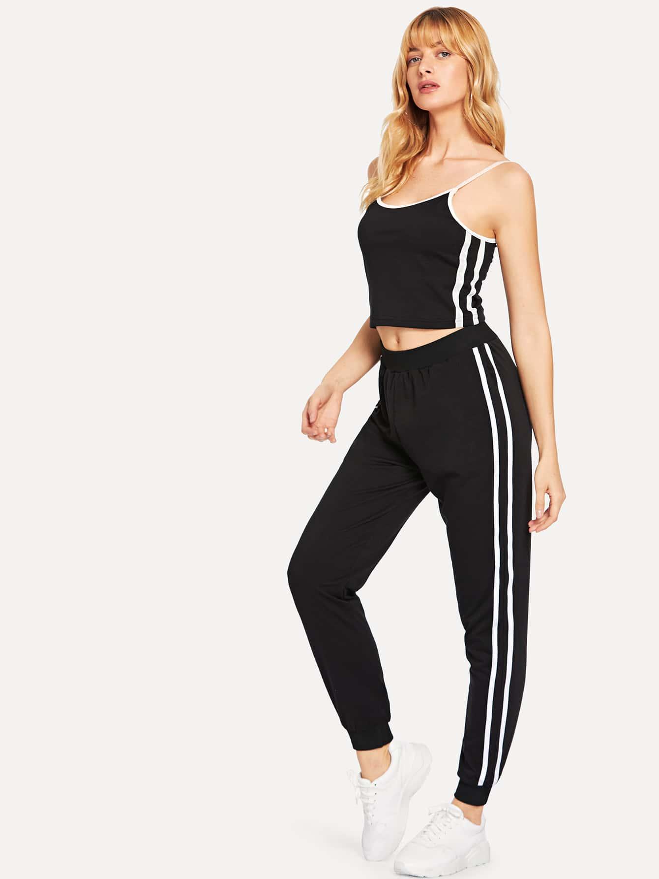 Купить Топ со симметрическими полосами и брюки, Masha, SheIn