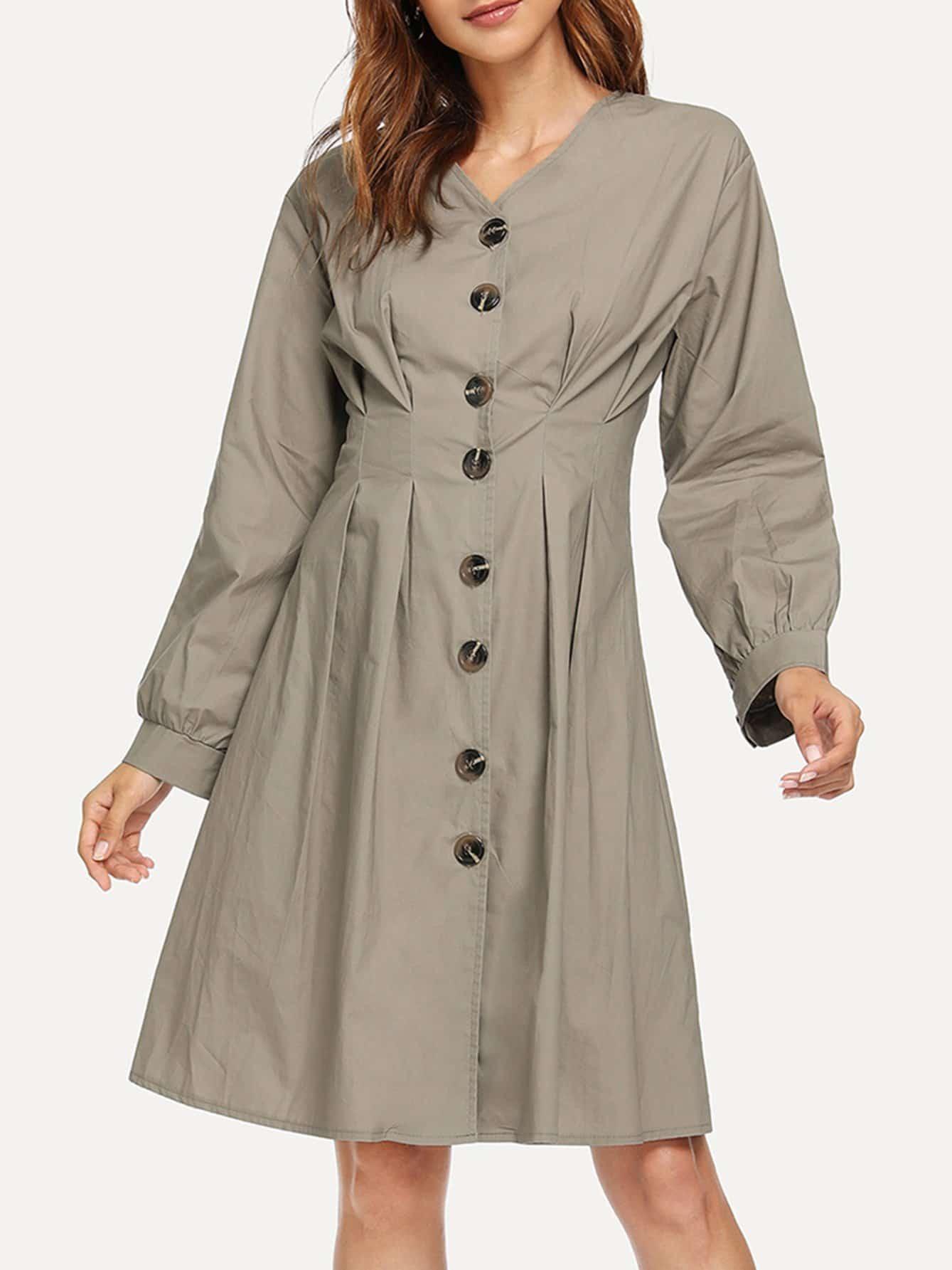 Купить Однобортное платье с v-образным воротником, Gabi B, SheIn