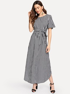 Flutter Sleeve Belted Gingham Dress