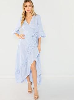Ruffle Detail Belted Bell Sleeve Dress