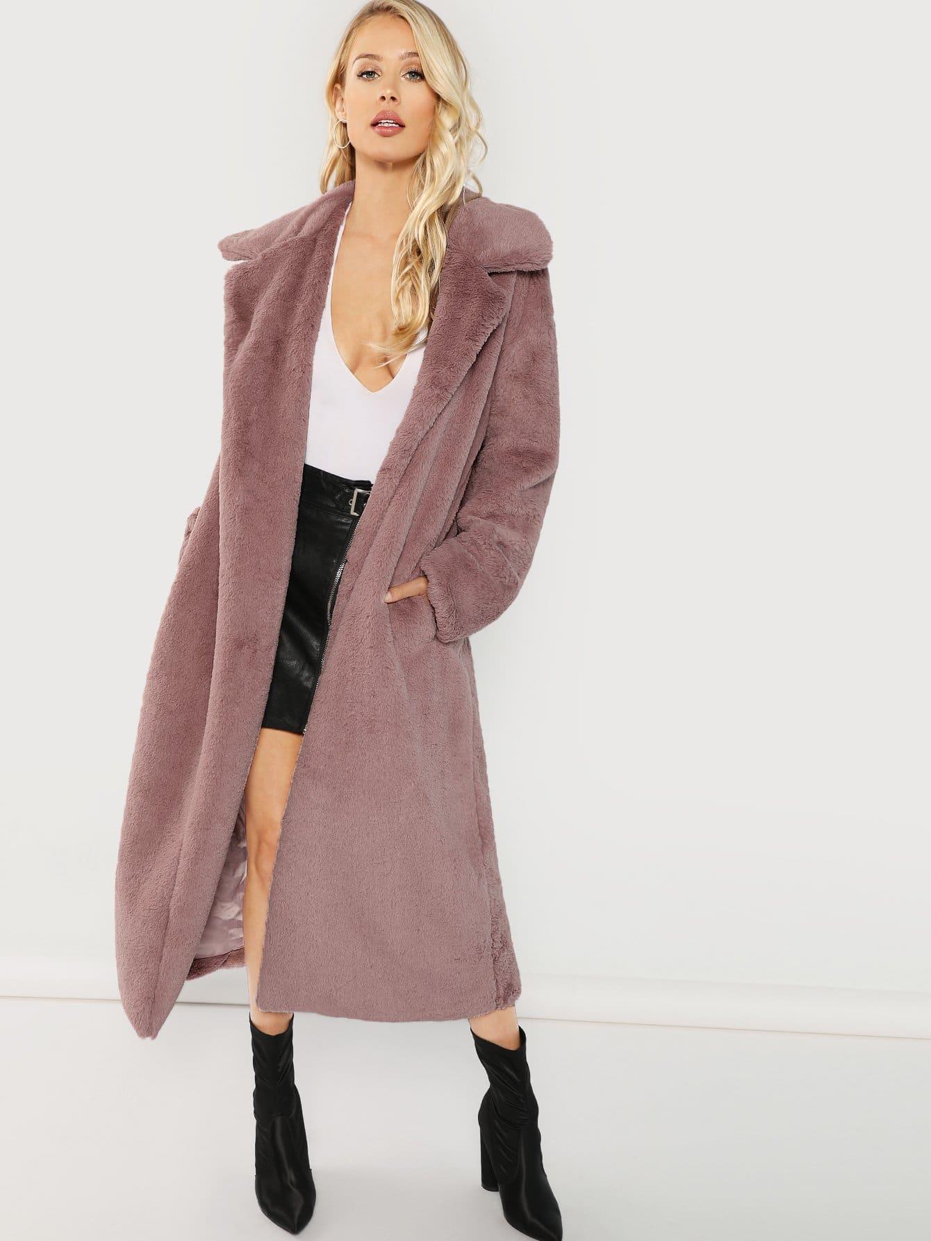 Купить Открытое длинное тедди пальто из искусственных кож, Allie Leggett, SheIn