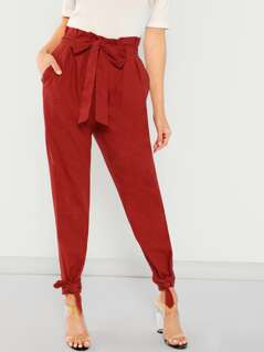 Belted Waist and Hem Tapered Pants