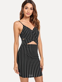 Cut Out Cross Wrap Front Cami Dress