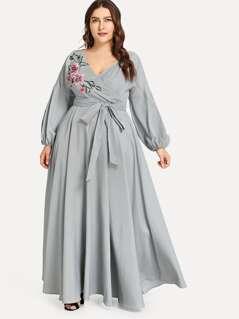 Plus Flower Applique Lantern Sleeve Wrap Dress