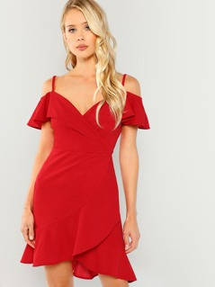 Cold Shoulder Foldover Surplice Ruffle Dress