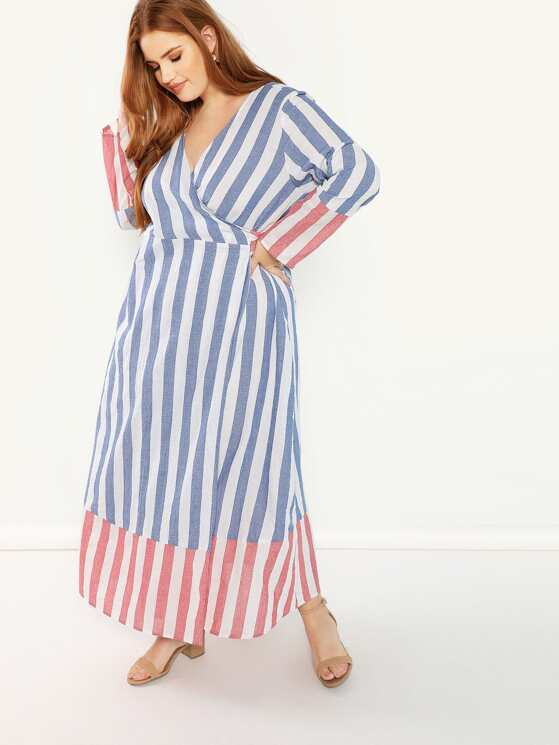 eed82e23a4a Plus Two Tone Striped Wrap Dress