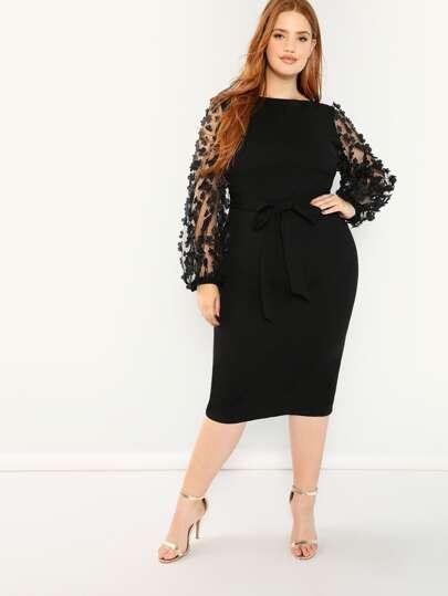 cec507fbc0 Plus Pencil Dress With Applique Mesh Sleeve | SHEIN