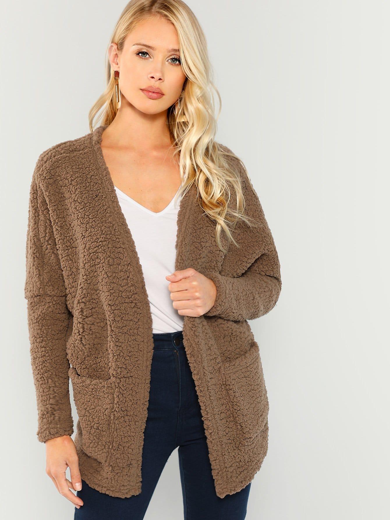 Купить Открытой передней тедди пальто из искусственного меха, Allie Leggett, SheIn