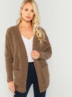 Faux Fur Open Front Teddy Coat