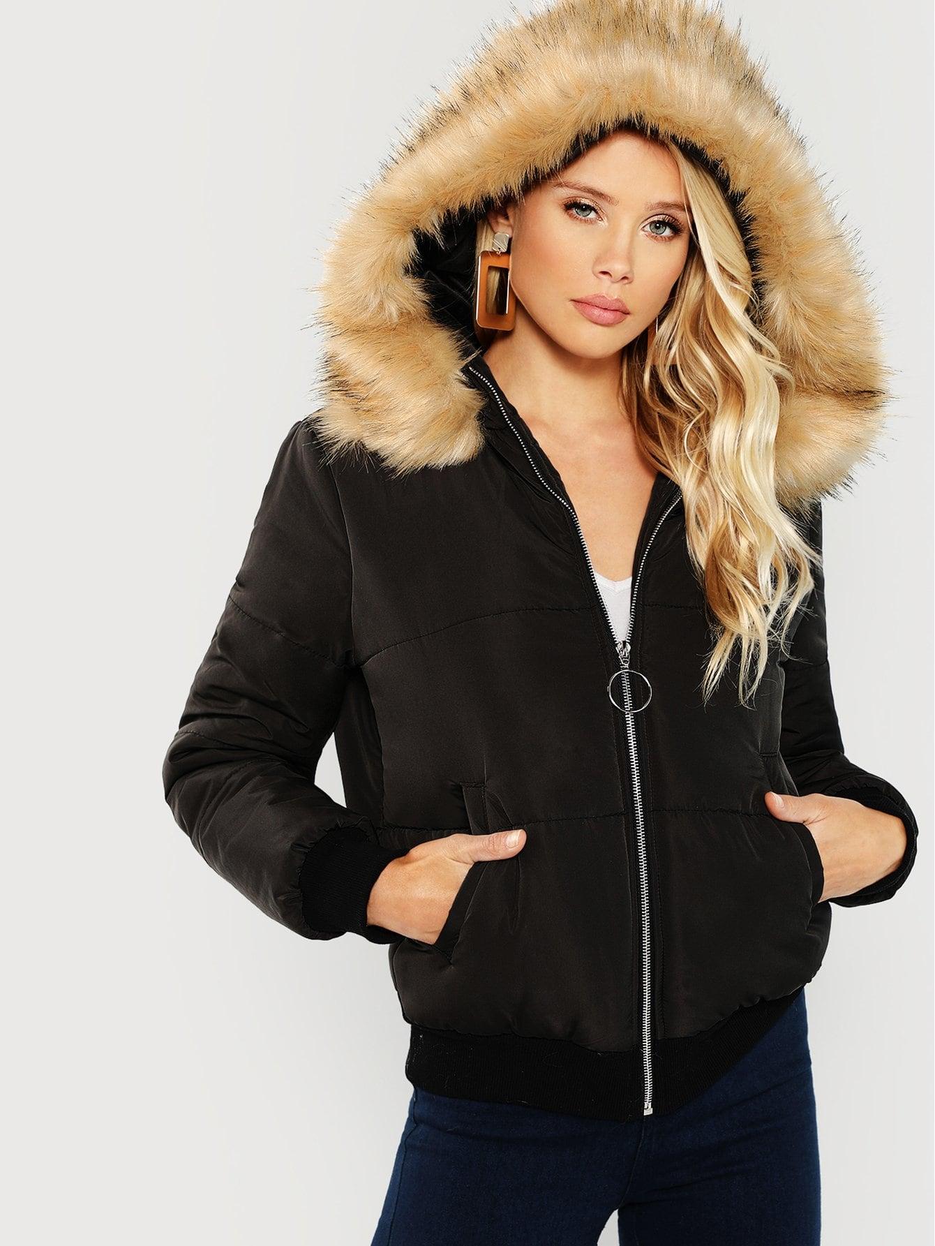 Купить Пальто из искусственных мехов и с капюшоном и застёжкой молния О-кольца, Allie Leggett, SheIn