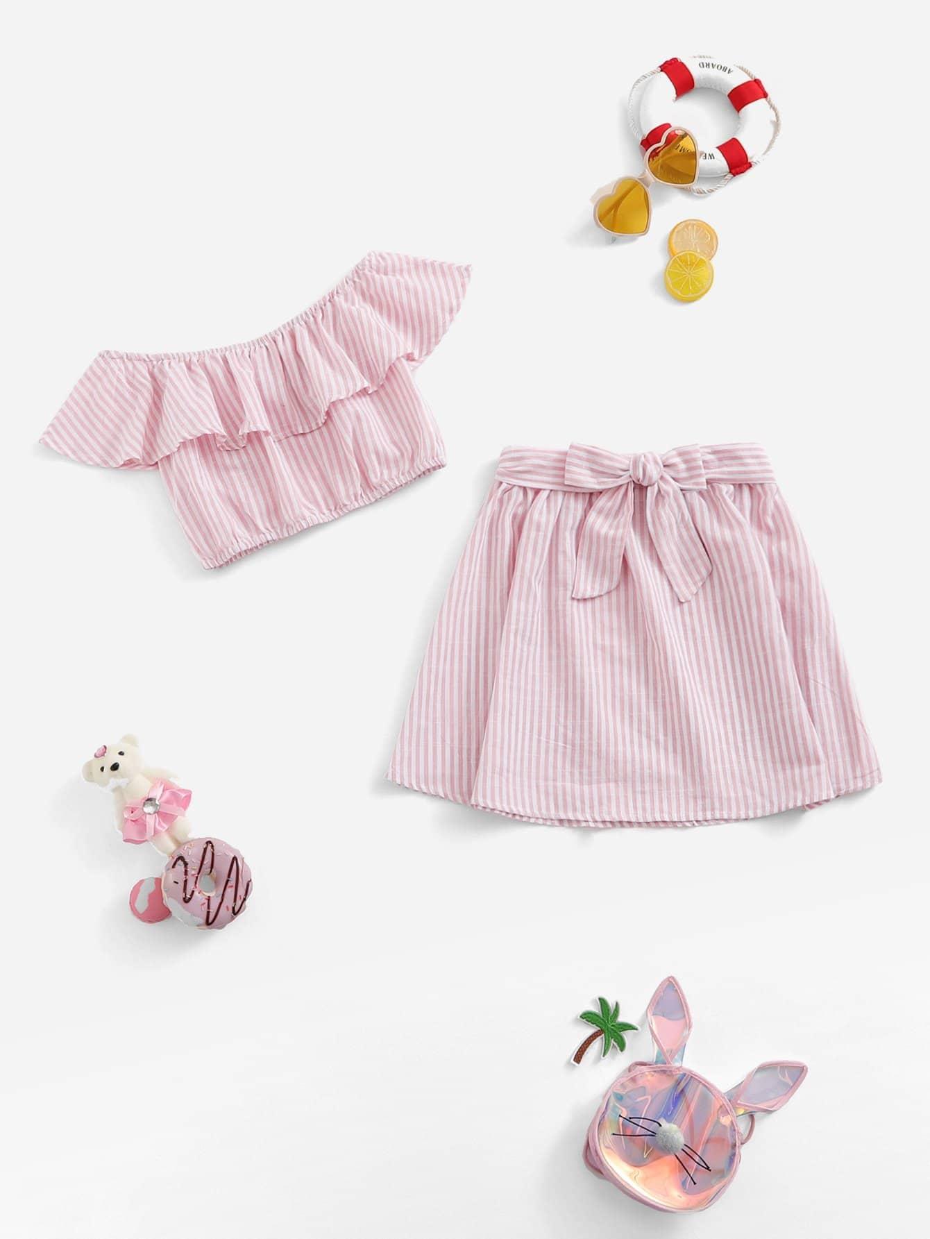 Купить Для девочек с оборками полосатый топ и юбка комплетк, null, SheIn