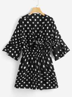 Knot Up Bell Sleeve Polka Dot Top