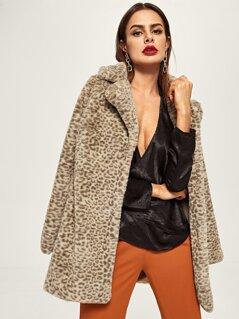 Notched Neck Leopard Print Coat