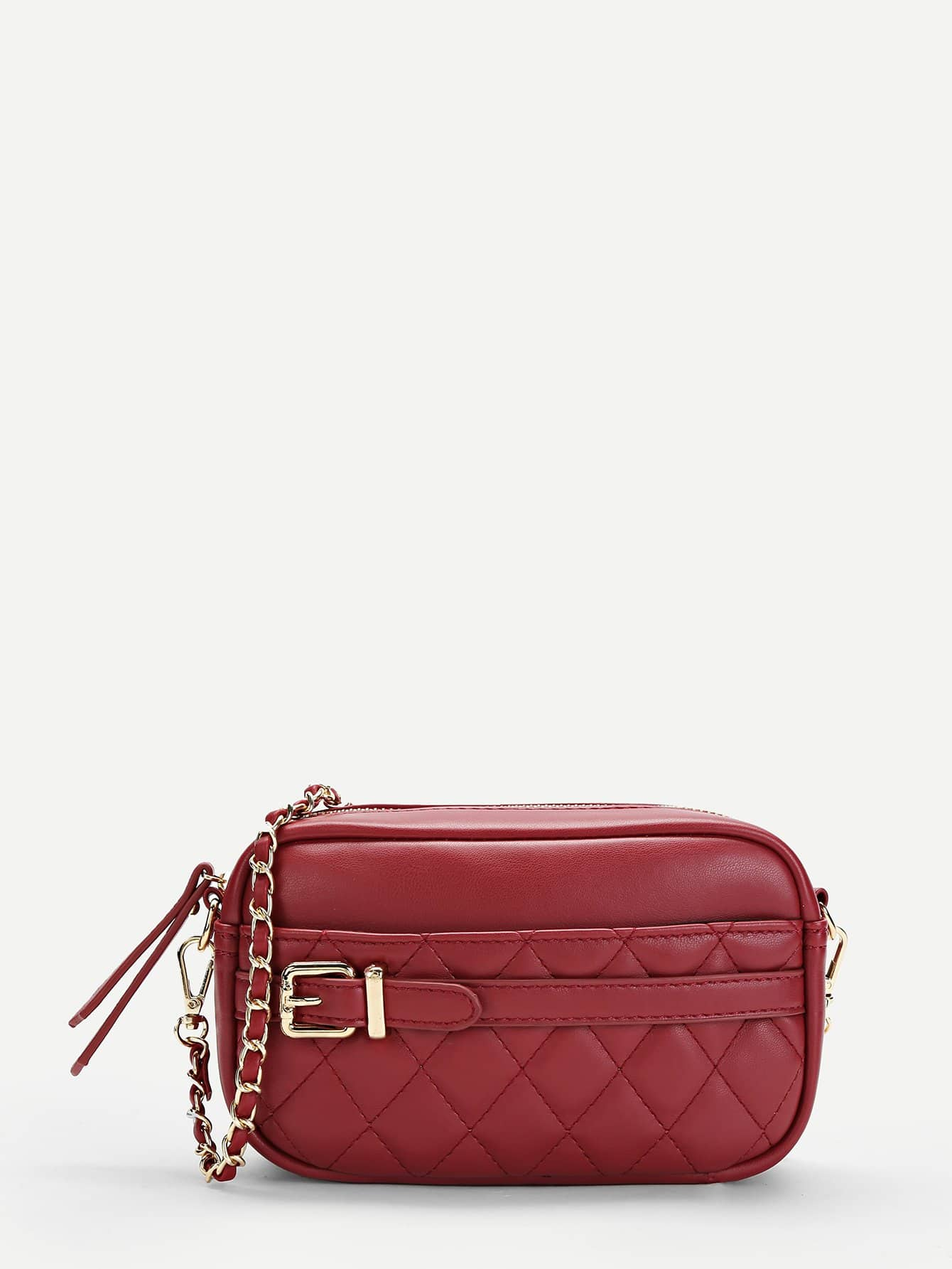 Quilted Buckle Detail Crossbody Bag