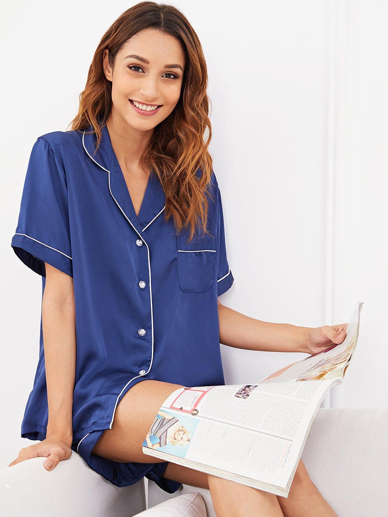 Купить Комплект пижамы с украшением пуговицы и со симметрическими Binding, Gabi B, SheIn