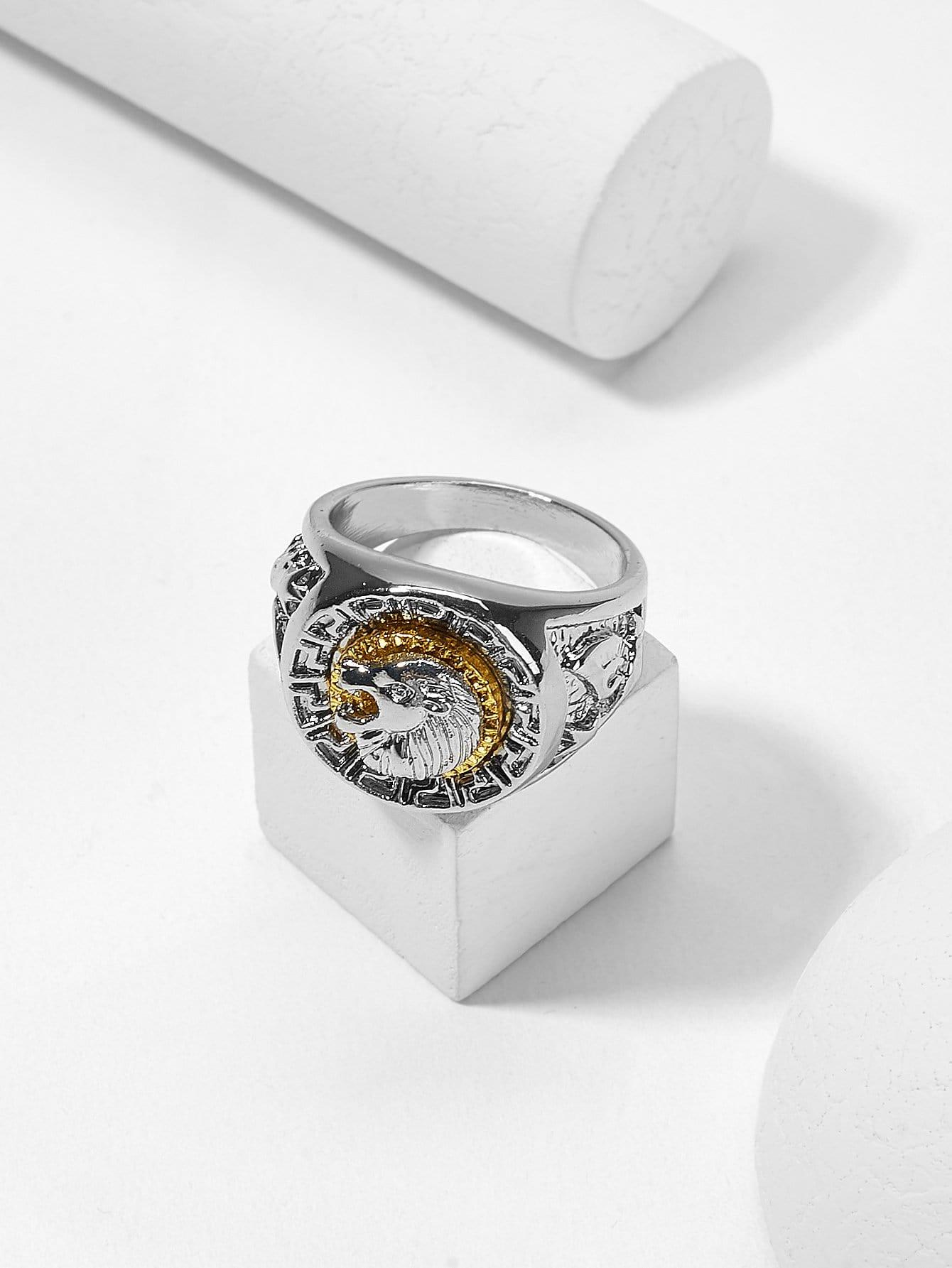 Мужское скульптурное кольцо с принтом лева
