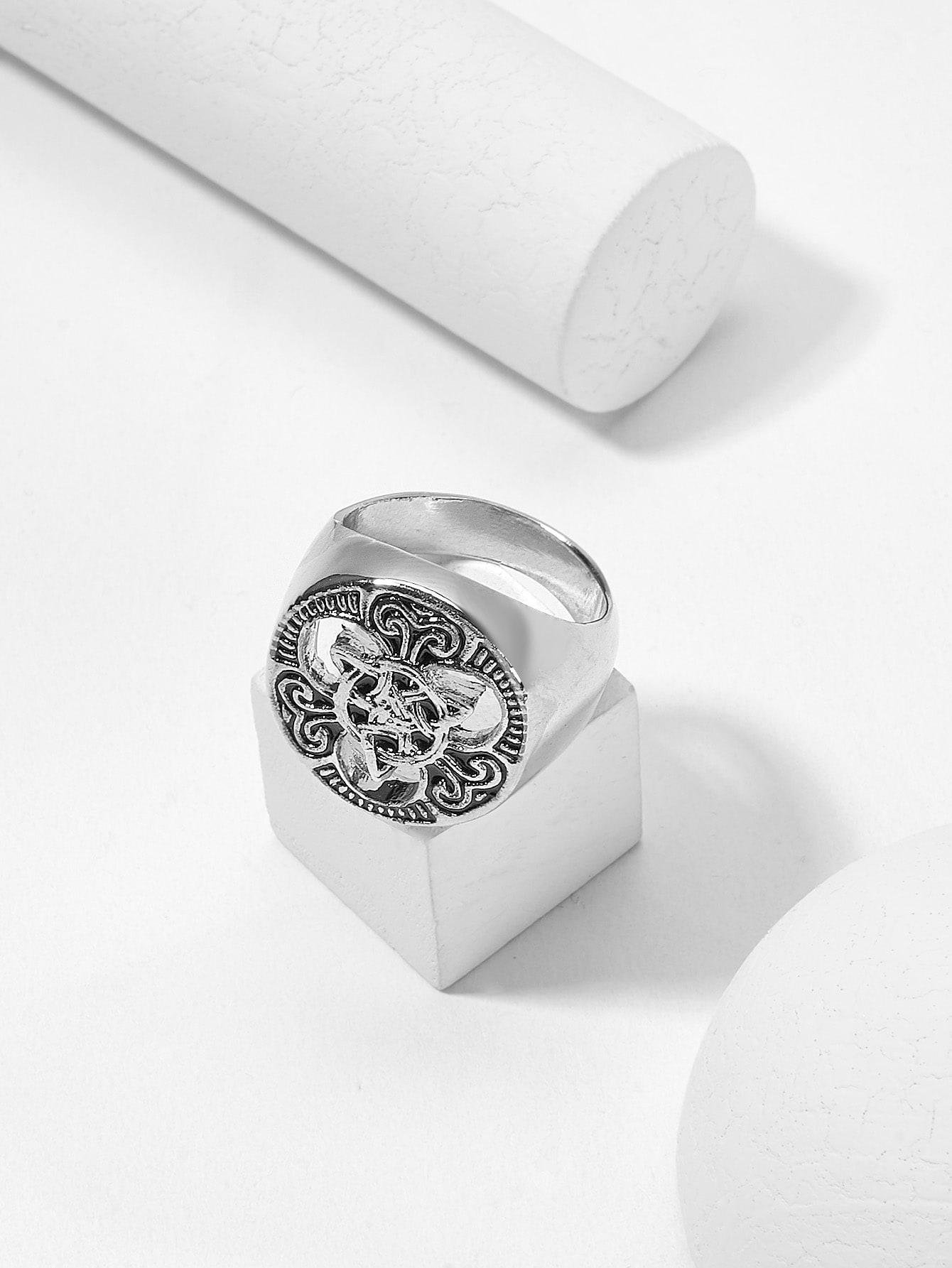 Мужское скульптурное круглое широкое кольцо