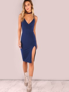 Slit Front Cami Pencil Dress