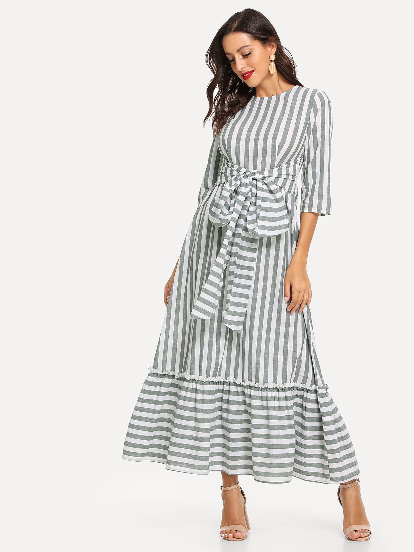 Купить Платье в полоску с оборкой отделкой спереди бант, Mary P., SheIn