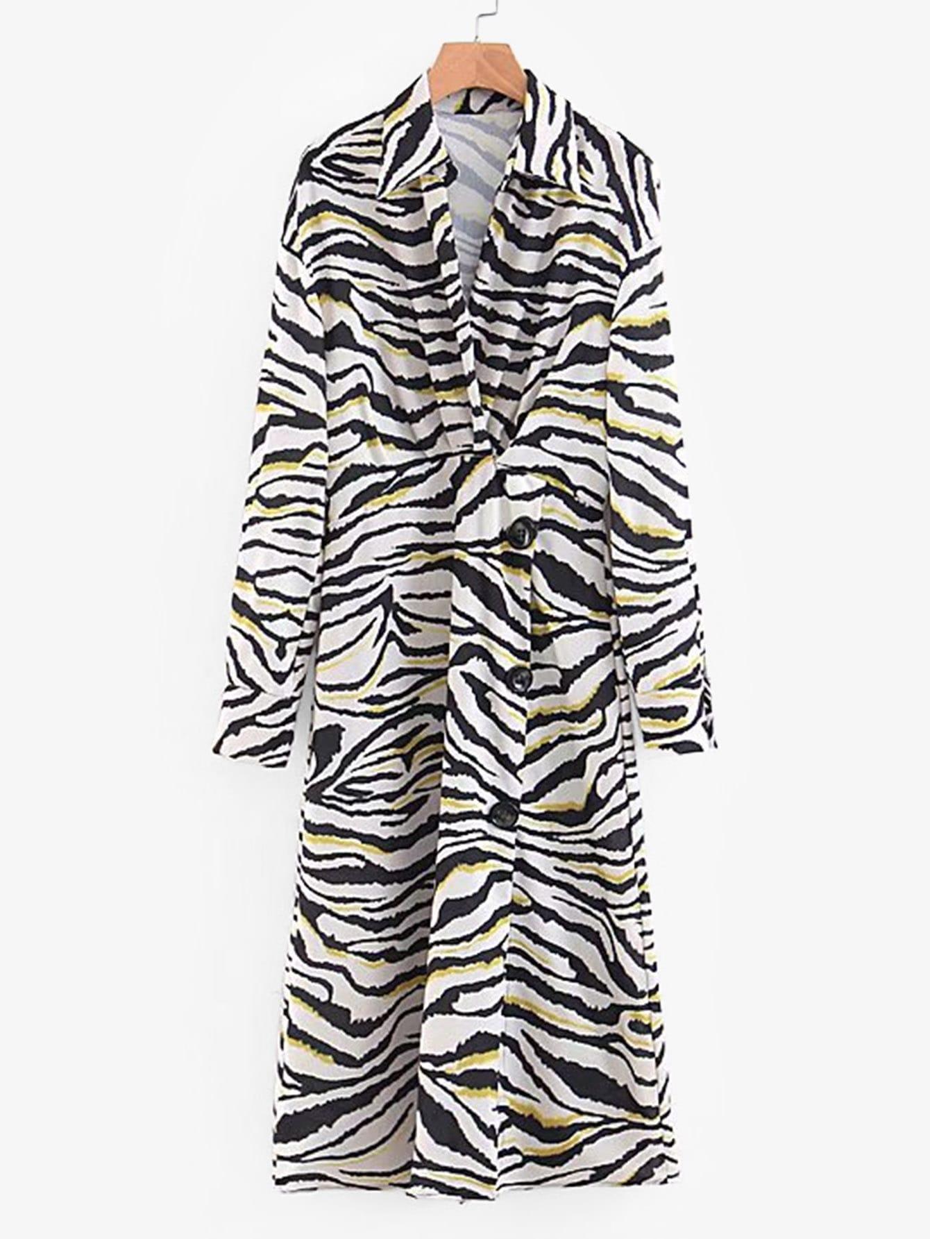 Купить Платье с украшением пуговицы и с принтом зебры, null, SheIn