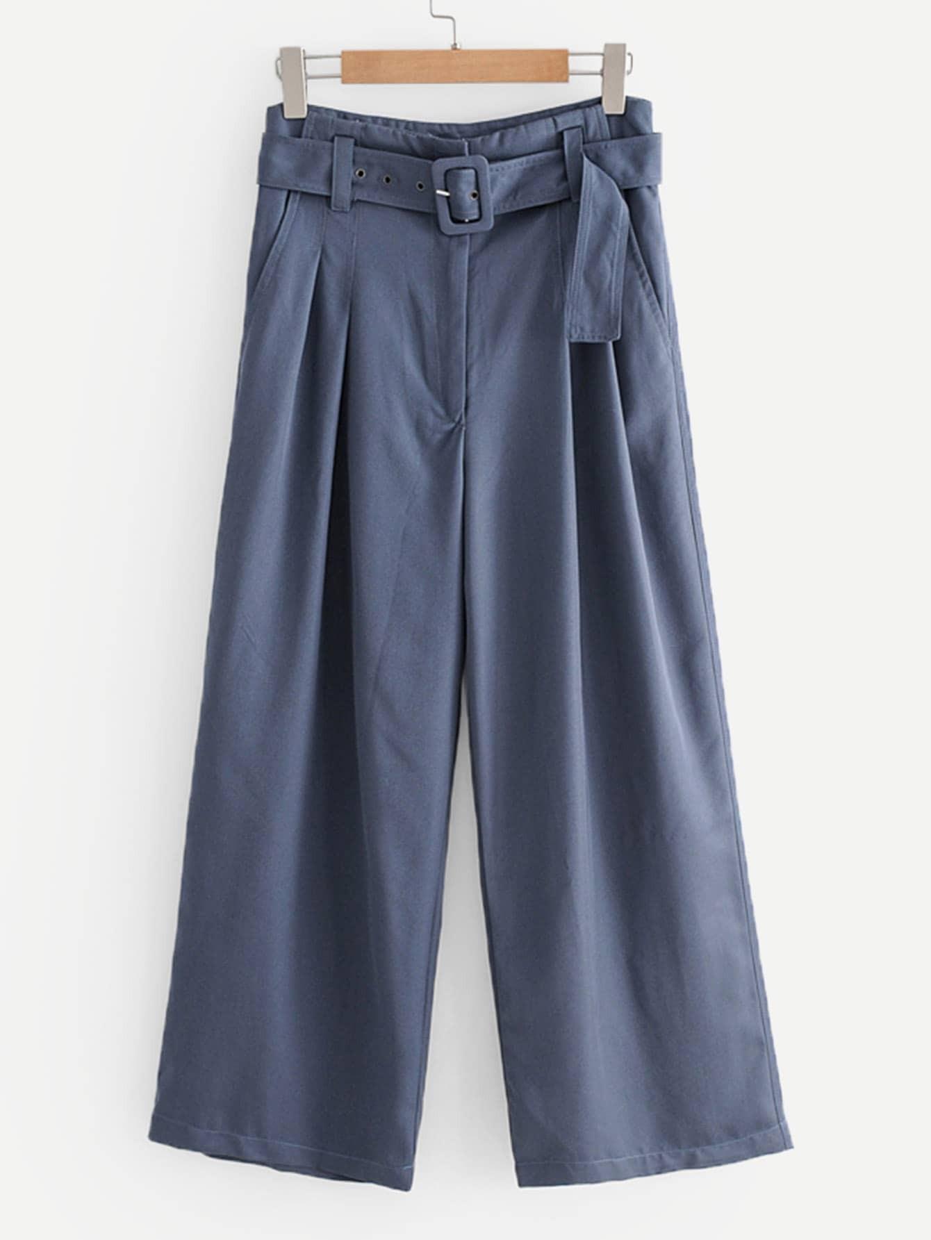 Купить Простые широкие ножные штаны с поясом, null, SheIn