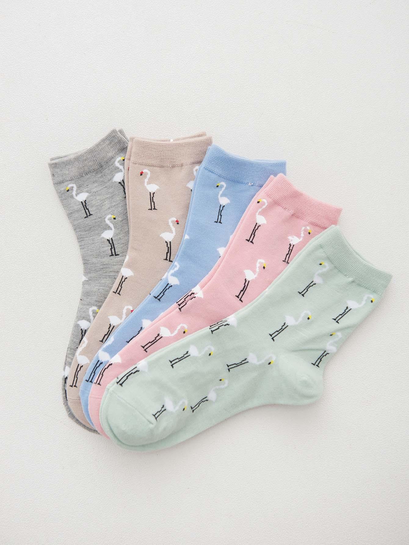 Flamingo Print Socks 5pairs