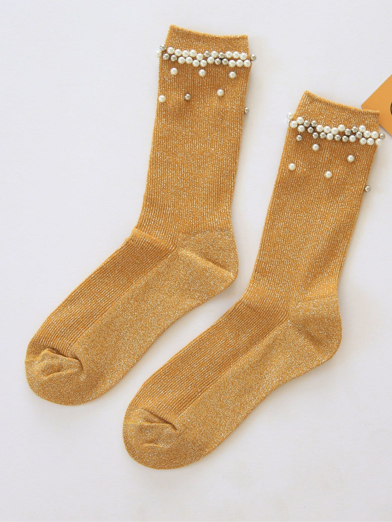 Faux Pearl Decorated Glitter Socks 1pair