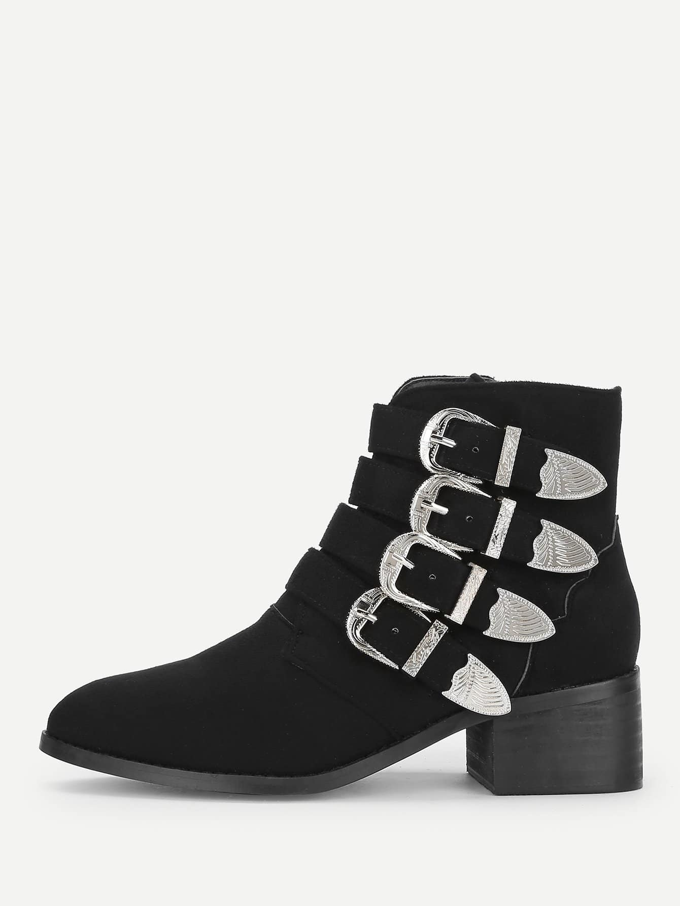 Side Zipper Buckle Boots