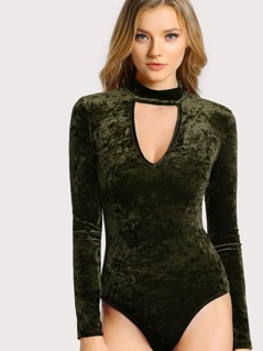 Choker Neck Crushed Velvet Bodysuit