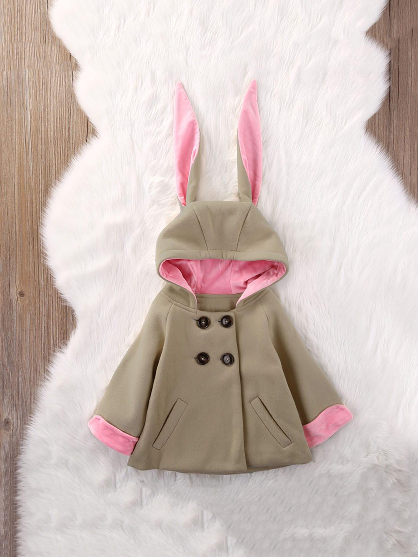 Купить Пальто с капюшоном и карманами и украшением уха кролика для девочек, null, SheIn