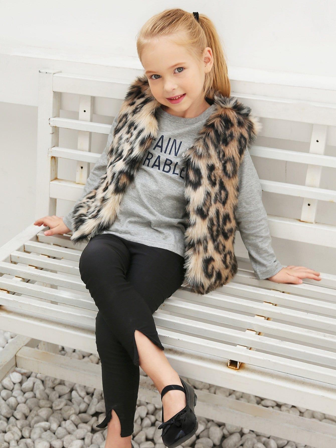 Леопардовый жилет из искусственных мехов для девочек, null, SheIn  - купить со скидкой