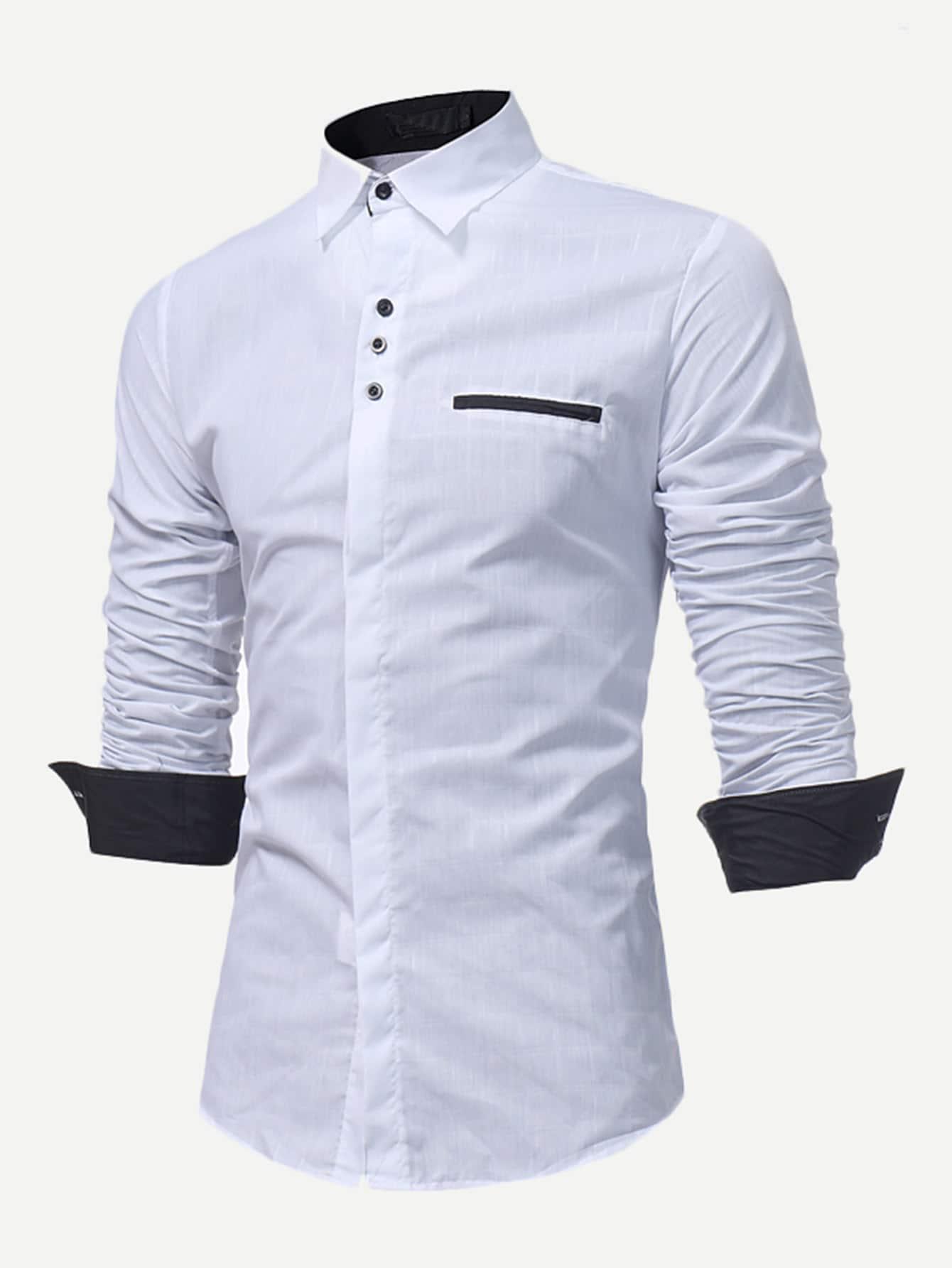Купить Мужская футболка в клетку с воротником и украшением пуговицы, null, SheIn
