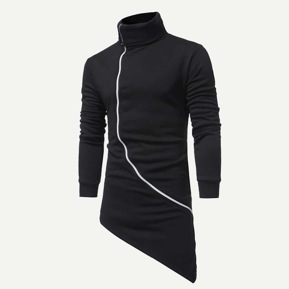 Zwart Casual Rits Vlak Sweatshirts voor heren