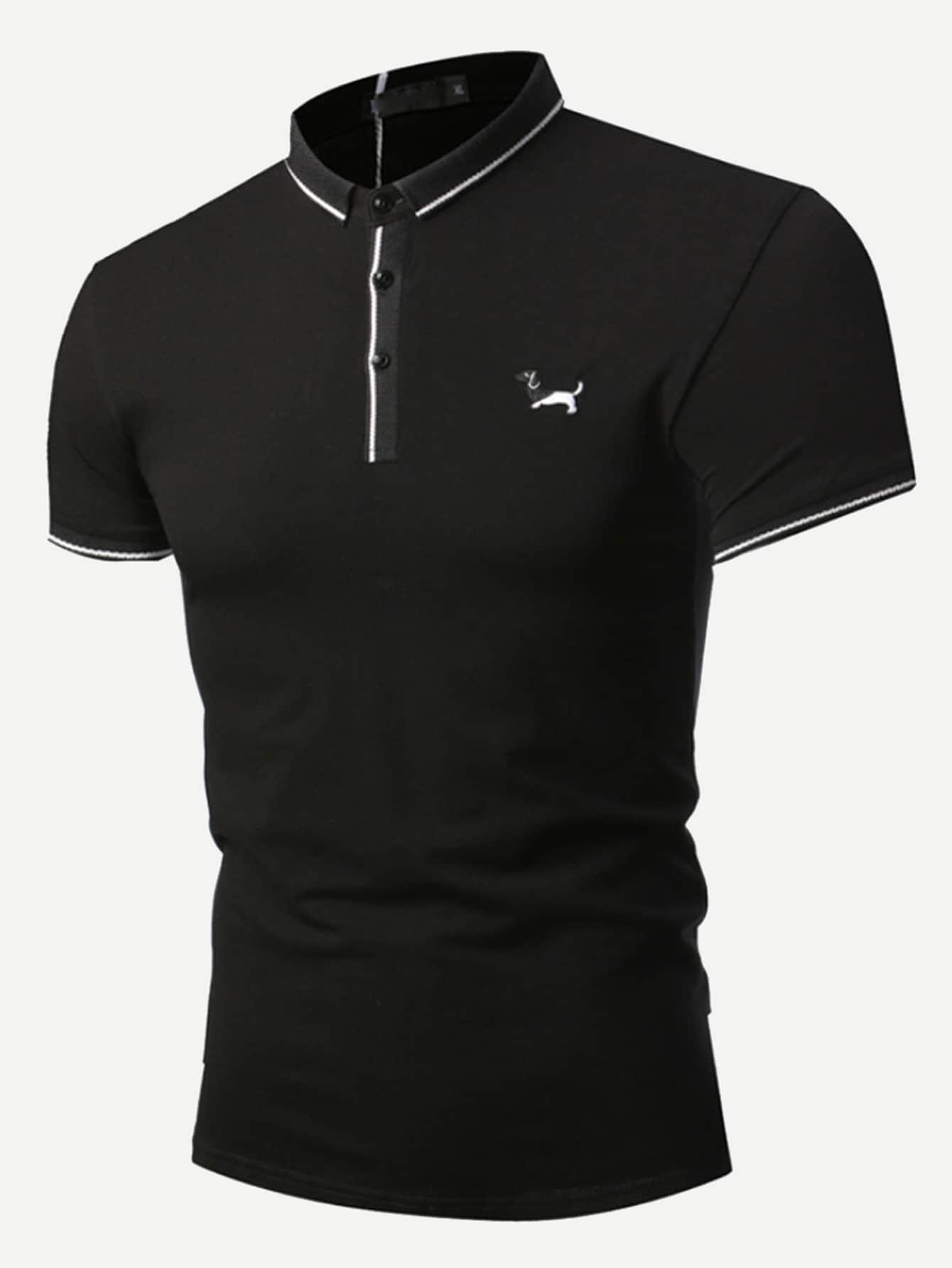 Купить Мужская поло футболка с украшением пуговицы, null, SheIn