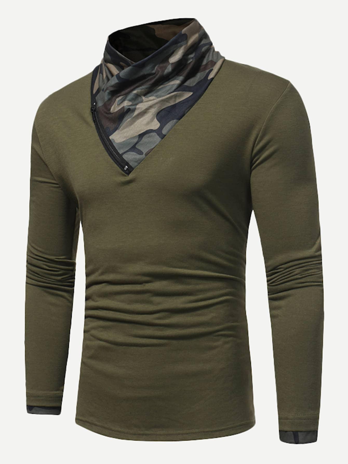Купить Мужская футболка с застёжкой молния и контрастным воротником, null, SheIn