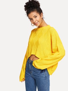 Drop Shoulder Solid Dip Hem Sweater