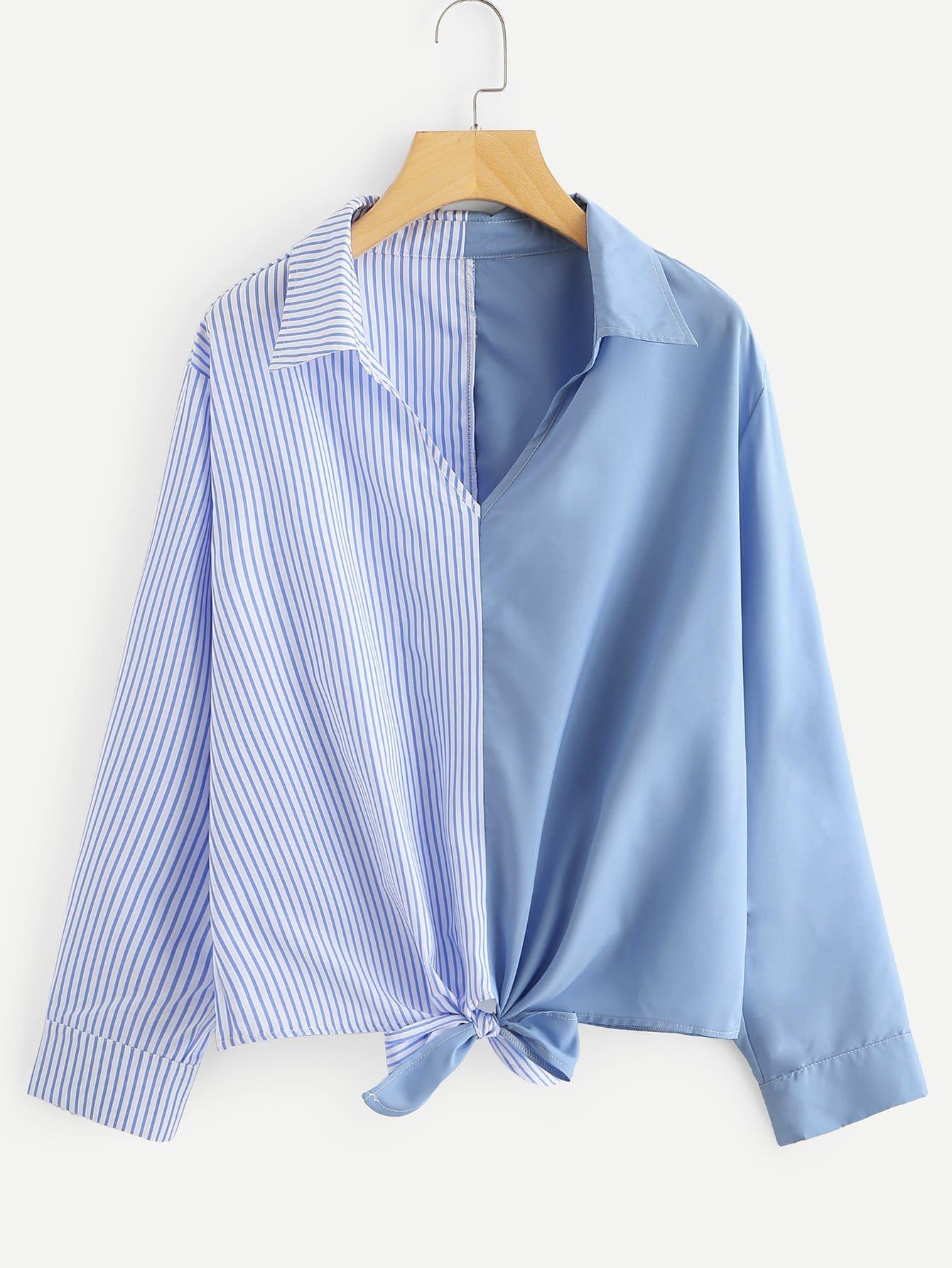 Купить Большая блуза с бантом и симметрическими полосами, null, SheIn