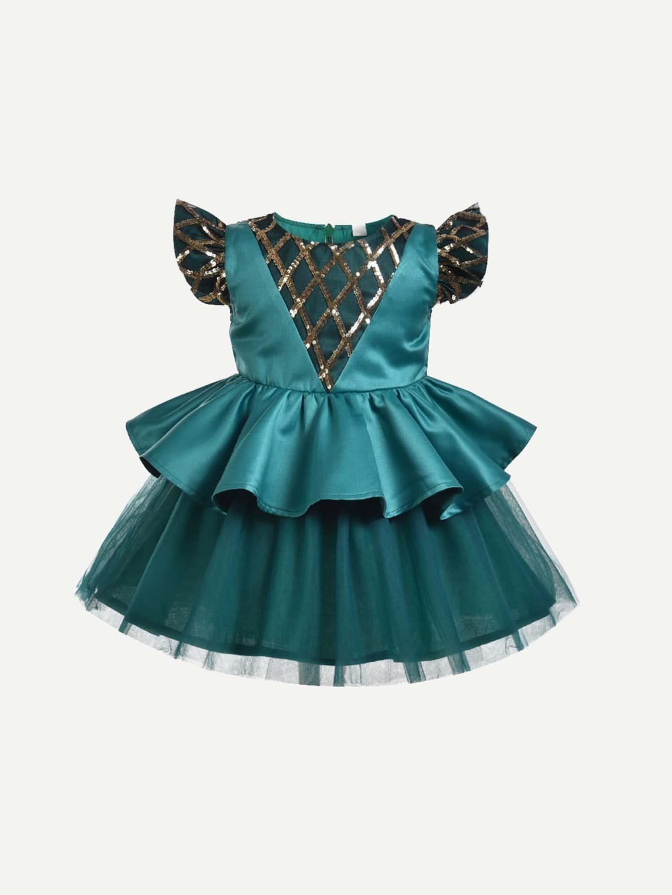 Girls Mesh Overlay Contrast Sequin Dress