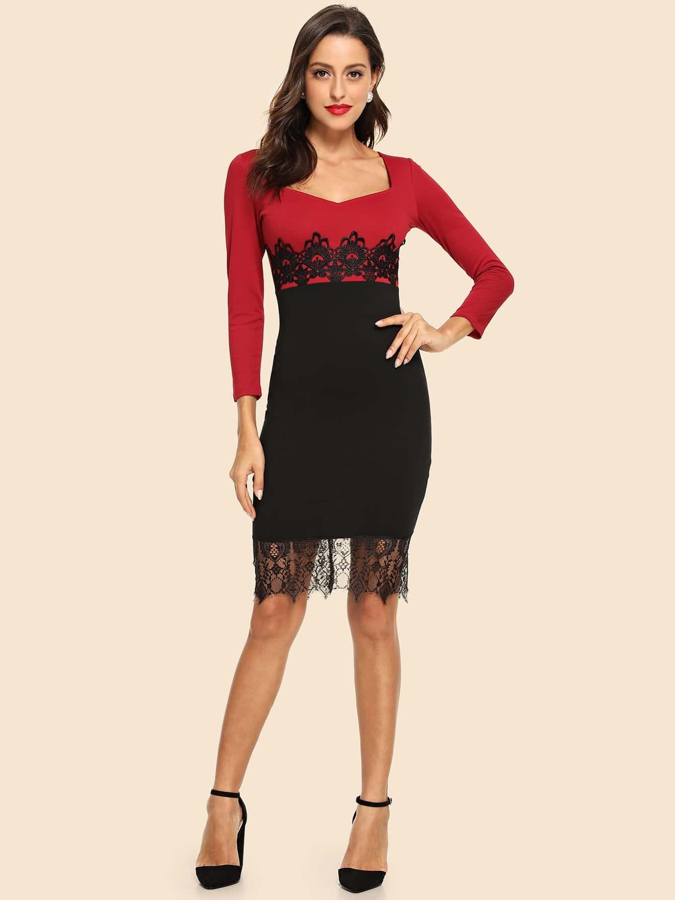 Контрастное платье со симметрическими кружевами SheIn
